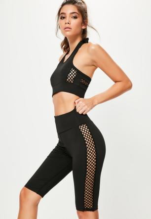 active-black-cross-side-mesh-detail-cycling-shorts